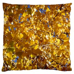 Yellow Leaves Large Flano Cushion Cases (two Sides)  by trendistuff