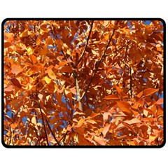 ORANGE LEAVES Double Sided Fleece Blanket (Medium)  by trendistuff