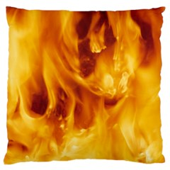 Yellow Flames Large Flano Cushion Cases (two Sides)  by trendistuff
