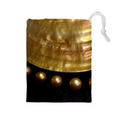 Golden Pearls Drawstring Pouches (large)  by trendistuff