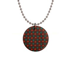 Distorted Polka Dots Pattern 1  Button Necklace by LalyLauraFLM