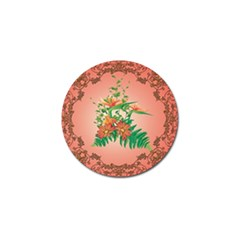 Awesome Flowers And Leaves With Floral Elements On Soft Red Background Golf Ball Marker (10 Pack) by FantasyWorld7