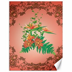 Awesome Flowers And Leaves With Floral Elements On Soft Red Background Canvas 18  X 24   by FantasyWorld7