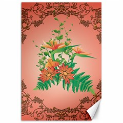 Awesome Flowers And Leaves With Floral Elements On Soft Red Background Canvas 20  X 30   by FantasyWorld7