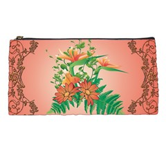 Awesome Flowers And Leaves With Floral Elements On Soft Red Background Pencil Cases by FantasyWorld7