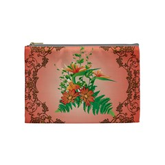 Awesome Flowers And Leaves With Floral Elements On Soft Red Background Cosmetic Bag (medium)  by FantasyWorld7
