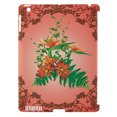 Awesome Flowers And Leaves With Floral Elements On Soft Red Background Apple Ipad 3/4 Hardshell Case (compatible With Smart Cover) by FantasyWorld7