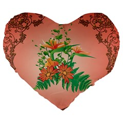 Awesome Flowers And Leaves With Floral Elements On Soft Red Background Large 19  Premium Heart Shape Cushions by FantasyWorld7