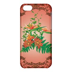 Awesome Flowers And Leaves With Floral Elements On Soft Red Background Apple Iphone 5c Hardshell Case by FantasyWorld7