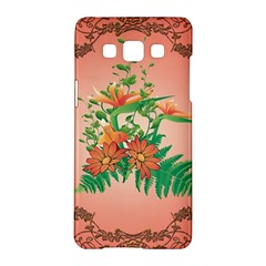 Awesome Flowers And Leaves With Floral Elements On Soft Red Background Samsung Galaxy A5 Hardshell Case  by FantasyWorld7