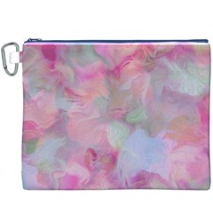 Soft Floral Pink Canvas Cosmetic Bag (xxxl)  by MoreColorsinLife