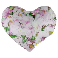Soft Floral, Spring Large 19  Premium Flano Heart Shape Cushions by MoreColorsinLife
