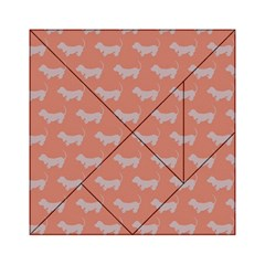 Cute Dachshund Pattern In Peach Acrylic Tangram Puzzle (6  X 6 ) by LovelyDesigns4U