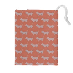 Cute Dachshund Pattern in Peach Drawstring Pouches (Extra Large) by LovelyDesigns4U