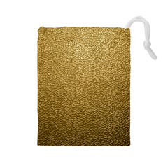 Gold Plastic Drawstring Pouches (large)  by trendistuff