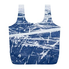 Blue And White Art Full Print Recycle Bags (l)  by trendistuff