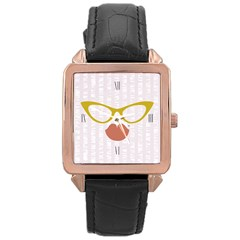 Rose Gold Leather Watch  by typewriter