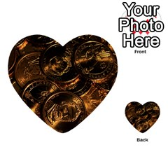 Gold Coins 2 Multi Purpose Cards (heart)  by trendistuff