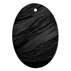 Long Haired Black Cat Fur Oval Ornament (two Sides) by trendistuff