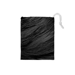 Long Haired Black Cat Fur Drawstring Pouches (small)  by trendistuff