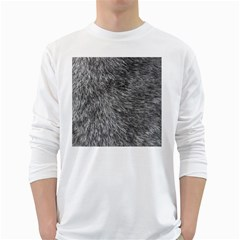 GREY WOLF FUR White Long Sleeve T-Shirts by trendistuff