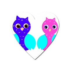 Owl Couple  Heart Magnet by JDDesigns