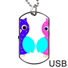 Owl couple  Dog Tag USB Flash (One Side)