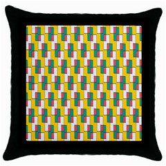 Connected Rectangles Pattern Throw Pillow Case (black) by LalyLauraFLM