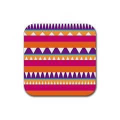 Stripes And Peaks Rubber Square Coaster (4 Pack) by LalyLauraFLM