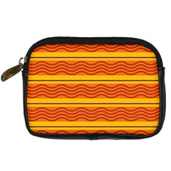 Red Waves Digital Camera Leather Case by LalyLauraFLM