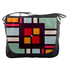 Squares And Stripes  Messenger Bag by LalyLauraFLM