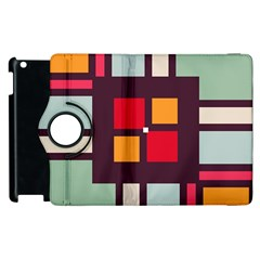 Squares And Stripes  Apple Ipad 3/4 Flip 360 Case by LalyLauraFLM