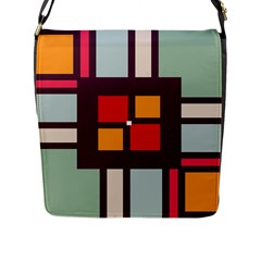 Squares And Stripes  Flap Closure Messenger Bag (l) by LalyLauraFLM