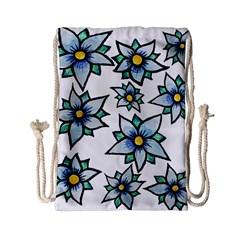 Blue Flowers Cute Spring Drawstring Bag (small) by BubbSnugg