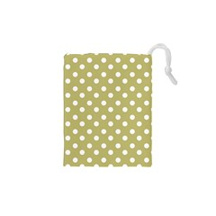 Lime Green Polka Dots Drawstring Pouches (XS)  by creativemom
