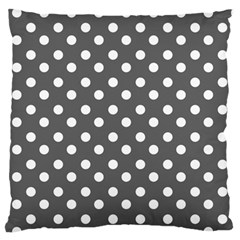 Gray Polka Dots Standard Flano Cushion Cases (One Side)  by creativemom