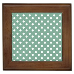 Mint Green Polka Dots Framed Tiles by creativemom
