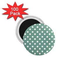 Mint Green Polka Dots 1.75  Magnets (100 pack)  by creativemom