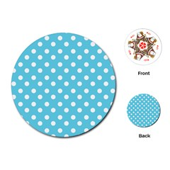 Sky Blue Polka Dots Playing Cards (round)  by creativemom