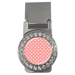 Coral And White Polka Dots Money Clips (CZ)  by creativemom