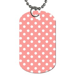 Coral And White Polka Dots Dog Tag (one Side) by creativemom