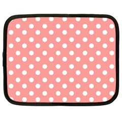 Coral And White Polka Dots Netbook Case (Large) by creativemom