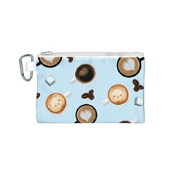 Cute Coffee Pattern on Light Blue Background Canvas Cosmetic Bag (S) by LovelyDesigns4U