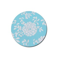 Aqua Blue Floral Pattern Rubber Coaster (Round)  by LovelyDesigns4U