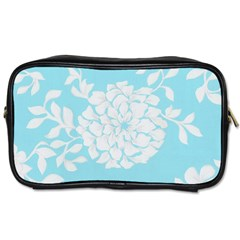 Aqua Blue Floral Pattern Toiletries Bags 2 Side by LovelyDesigns4U