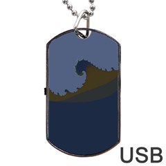 Ocean Waves Dog Tag Usb Flash (one Side) by theunrulyartist