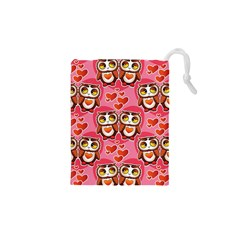 Cute Owls in Love Drawstring Pouches (XS)  by LovelyDesigns4U