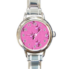 Pink Floral Pattern Round Italian Charm Watches by LovelyDesigns4U