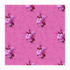 Pink Floral Pattern Medium Glasses Cloth (2 Side) by LovelyDesigns4U