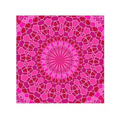 Pink And Red Mandala Small Satin Scarf (square)  by LovelyDesigns4U